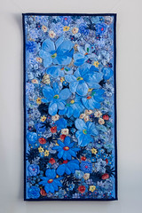 Blue flowers 1 by Liz Steveson - photo Bob Green (Bob Green 52) Tags: lizsteveson artwork wall hanging wallhanging adelaide australia needle work