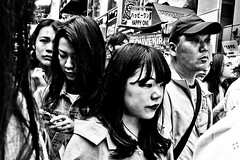 Harajuku Faces (Victor Borst) Tags: street streetphotography streetlife reallife real realpeople asia asian asians faces face candid travel travelling trip traveling urban urbanroots urbanjungle blackandwhite bw mono monotone monochrome japan japanese harajuka tokyo city cityscape citylife people portrait mankind busy