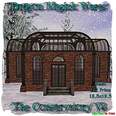The Conservatory V3 (Dragonia DeCuir Dragon Magick Wares) Tags: dragonmagickwares dragoniadecuir secondlife sl mesh house home steampunk brick