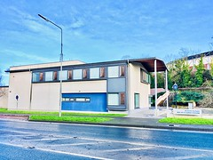 Blue Sunday HSS! (JulieK (thanks for 6 million views)) Tags: 117picturesin2017 newrossgardastation blue windows road ireland irish wexford building modern