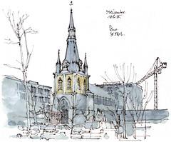 Liège, place Saint-Paul (gerard michel) Tags: belgium liège architecture cathédrale tour gothique sketch croquis aquarelle watercolour