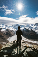 Audrey and the Gorner Glacier (Todd Danger Farr) Tags: glacier explore switzerland swiss alps zermatt gornerglacier snow mountains hiking sky clouds travel