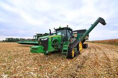 Little America Corn Harvest | JOHN DEERE // ELMER'S (martin_king.photo) Tags: cornharvest2016 corn harvest 2016 john deere johndeere johndeeres690i tracks johndeere616c16rowcornheaders jd616c johndeere8370rt elmer'smanufacturing 1600bushelhaulmaster elmes manufacturing haulmaster graincart grain cart ctf controlledtrafficfarming beltconveyor field season havest2016 martin king photo agriculture machinery machines tschechische republik weather powerfull martinkingphoto green mais maize huge big strong machine modernagriculture agricultural blue fields sky clouds work working autumn greatday great landscape cornfield schlepper landtechnik landwirt landwirtschaft cabin trees biggest