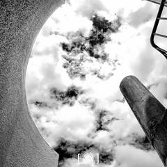 Looking To The Heavens (Russ Dixon Photography) Tags: russdixon russdixonphotography newzealand newplymouth taranaki abstract monochrome mono bw buildings blackandwhite infrared ir square fujixe1