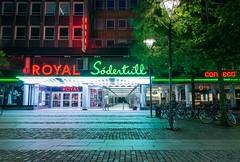 Neon magic (Nodding Pig) Tags: malmö sweden södertull shoppingcentre night neon signs pedestrianisation shop cinema royal 2017 skåne 201707127108101crop