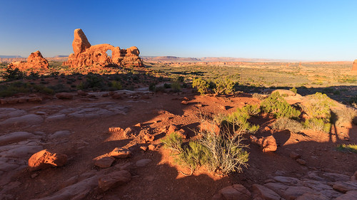 Turret Arch in Arches NP at sunset
