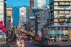 Twilight Zone 🏪🚖🏤 Vancouver, BC (Michael Thornquist) Tags: granvillestreet granvillest granvillemall granvilleentertainmentdistrict granvillestreetbridge vancouverblock clocktower bestwestern chateaugranville howardjohnson neonlights mtseymour snowcappedmountain mountain vancouver downtownvancouver 604now photos604 explorebc explorecanada canoncanada ilovebc britishcolumbia pacificnorthwest pnw canada 500px