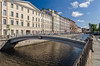 Flour bridge in Saint Petersburg. (g_reg_walker) Tags: architecture bridge flour muchnoy building fence grill lattice fragment canal griboyedov city cityscape historical view center morning granite russia saint petersburg summer sky blue clear travel excursion sights sightseeing stroll trip walk water