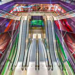 Psychedelic Escalator III (Alec Lux) Tags: rotterdam architecture blue colorful colors design escalator green interior lights market markthal netherlands psychedelic purple red stairs stairway symmetry urban yellow zuidholland nl