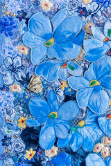 Blue flowers 3 by Liz Steveson - photo Bob Green (Bob Green 52) Tags: lizsteveson artwork wall hanging wallhanging adelaide australia needle work