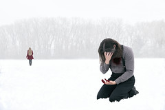 Save It For Somebody Else (Nwywre) Tags: snow winter fineart darkart concept conceptual surreal story storyteller man girl breakup pain couple loneliness lonely alone hurt longhair blood heartbreak
