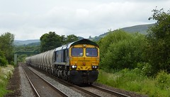66623 Bill Bolsover approaches Bamford with the 6E08 Earles Sidings to West Burton p.s. 2nd July 2015. (Dave Wragg) Tags: 66623 class66 freightliner billbolsover 6e08 bamford hopevalleyline loco locomotive railway