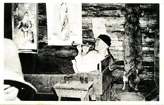 A Chinese Miner Enjoys A Quiet Pipe After A Day At The Diggings, Barkerville, BC (SwellMap) Tags: postcard vintage retro pc 30s 40s 50s 60s thirties forties sixties fifties roadside midcentury atomicage nostalgia americana advertising coldwar artdeco linen design style architecture building