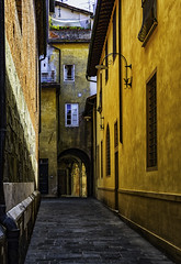 Narrow Streets in Lucca Italy (Daveyal_photostream) Tags: streetphotography street buildings building yellow nikon nikor italy city meandmygear mygearandme mycamerabag flagstone stucco planters flowers perspective walls arcitecture doors windowa lightanddark shadows light road archway arch geometricshapes lines bicycle travel vacation photoshop lightroom d600 railing porch luccaitaly veranda windows alleyways alley