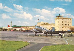 DUS02 (By Air, Land and Sea) Tags: airport postcard airplane airline aircraft dus dusseldorf germany dusseldorfairport sabena dc3 swissair