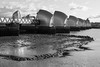 Tidal Thames (marktmcn) Tags: tide out tidal river thames flood barrier steel dam riverdam piers riverbed channels water sky structures monochrome blackandwhite d610 nikkor 28300mm