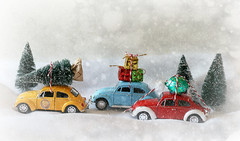 Driving Home For Christmas 🚙🚗 (Through Serena's Lens) Tags: stilllife volkswagen beetle vw miniature car tree presents gifts lindt chocolate snow winter scenery christmas drivinghomeforchristmas