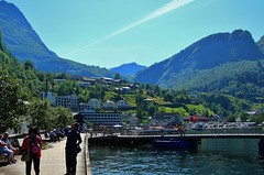 View of Geiranger. (Eddie Crutchley) Tags: cruise2017norwayicelandireland europe norway outdoor geiranger geirangerfjord mountain village waterfront water blueskies