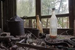 Smith's workbench [in explore December 2017] (kentkirjonen) Tags: workbench bottles abandoned old lumix fz300 window trees rust unorganised nail fuse bottle branch distributor