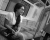 Girl on the tube (JoshyWindsor) Tags: victorialine unitedkingdom portrait girl blackandwhite london fujinonxf35mmf14 streetphotography person city londonunderground fujifilmxt10 tube metro urban