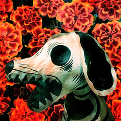 Perro y Caléndulas (Seeing Visions) Tags: 2017 mexico mx mexicocity cdmx photocollage dayofthedead diadelosmuertos sculpture skeletaldog papermache marigolds flowers texture square raymondfujioka