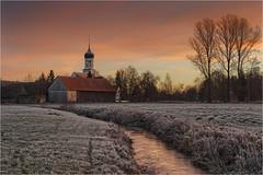 Dietkirch (Robbi Metz) Tags: deutschland germany bayern bavaria gessertshausen dietkirch landscape schmutter creek water trees frost sunrise colors canoneos