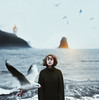 On the shores of my freedom (Alexander Shark) Tags: girl sea ocean portrait water waves light coast lighthouse winter countryside sky clouds sun air atmosphere sweater indie hills mountains iceland