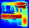 Thermal image of fridge (Ultrapurple) Tags: thermapp thermapppro thermviewer thermal lwir thermogram thermographic thermography heat thermalimage germanium microbolometer fridge absorption absorptionfridge refrigerator refrigeration cool hot evaporator radiator ammonia hydrogen