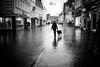 Rainy new year's day doggy walk (Black&Light Streetphotographie) Tags: mono monochrome leute people personen urban trier tiefenschärfe wow rain rainy regen dof fullframe vollformat sony streets streetshots doggywalk menschen menschenbilder strase streetlife streetszene
