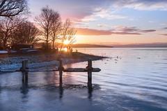 am schwäbischen Meer (SonjaS.) Tags: bodensee nusdorf steg sonnenaufgang sunrise wellen reflektionen wasser meer badenwürttemberg gegenlicht sonnenstern