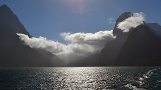 Clouds hiding Milford Sound / New Zealand