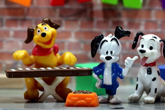 Can You Spare A Kibble, Please? - Bijou Planks 1/365 (MayorPaprika) Tags: canoneosrebelt6i mini figs figures pvc miniature smallscale figurine theater diorama toy story scene custom bricks bijouplanks plastic dog 101dalmations keyboard kibbles bowl