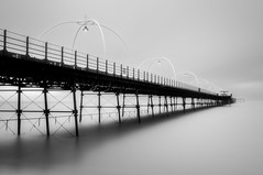 Southport Pier (Alan E Taylor) Tags: atmospheric bw bw10stopfilter blackwhite blackandwhite coast coastal dark dramatic england europe fineart le lightroom liverpool longexposure macphun macphuntonalityck merseyside mono monochrome noiretblanc ocean sea shore skylum southport tourism tourist travel uk unitedkingdom water britain british coastline pier gb
