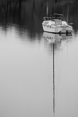 IMG_2788 (TMM Cotter) Tags: sailboat boat mast reflection selkirk waterway gorge waterfront galloping goose regional trail victoria bc monochrome