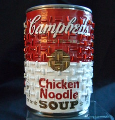 Campell's Soup v. 1 (Peggy Dembicer) Tags: peggycorallodembicer popart paperweaving recycled readymade diy fiberart buglebeads beads weaving surfacedesign doityourself handmade handwoven designerlabel connecticutartist