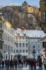 Lubiana - Stritarjeva Ulica (Andrea di Florio (9.000.000 views!!!)) Tags: slovenia lubiana centro capitale bianco e nero castello medioevo tramonto paesaggio panorama nikon d600