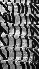 Baldarnock Parish Kirk, winter 05 (byronv2) Tags: baldarnock baldarnockparishchurch church kirk baldarnockparishkirk winter snow ice scotland rural countryside cemetery boneyard history graveyard shadows sunlight stairs steps stonesteps railings shadow blackandwhite blackwhite bw monochrome