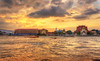 Every Sunset is Beautiful (Anirban.243) Tags: sunset river brifge sea thailand bangkok pier jetty ferry boat yellow clouds sky blue orange color asia canon hdr 1855