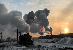 Morning Delivery (Kingmoor Klickr) Tags: jixi minigbureau chengzihe nanchang dongcheng china heilongjiang province snow industrial industry steam railway sy 1351 1340 1369 depot