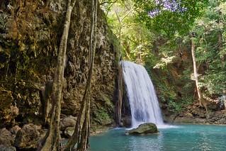 Tier 3 of the Erawan waterfalls in Kanchanaburi, Thailand