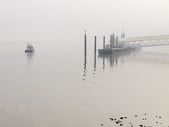 Impression (marktmcn) Tags: foggy misty boat riverboat thames river fog mist calm sketchy sketchlike watery watercolour impression iphone greenland london