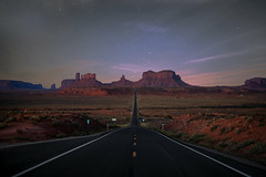 Empty road (reinaroundtheglobe) Tags: monumentvalley nationalpark arizona forestgumb landscape nature night nightphotography nopeople longexposure rockformation road endless