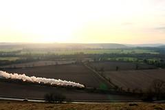 70013 storming through Wiltshire (g4vvz) Tags: 70013 oliver cromwell britannia pacific 462 steam train britain uk heytesbury warminster wiltshire sun countryside december winter scenery