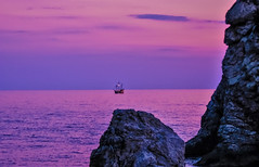 Pirates ahoy (stellagrimsdale) Tags: croatia rocks sea boat pirates mast sunset lighting colours colour pinks ocean sky water rock bay