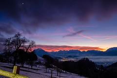 fantastic sunset (felipeepu) Tags: nature elements earth sun sky clouds fog trees colorful mountains firmament stars moon snow