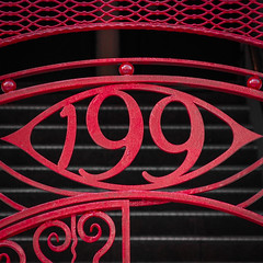 199 (tim.perdue) Tags: 199 number numeral red wrought iron gate address high street downtown urban city columbus ohio iphone instagram color colorful square design pattern