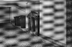 Peeking through the fence (Tobias Dander) Tags: tobiasdander monochrome bnw bw schwarzweiss fence peeking blackandwhite ramp driveway grid canon70d