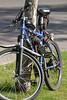 Parked Bike (Vegan Butterfly) Tags: outside outdoor summer city urban edmonton bike bicycle blue lock locked
