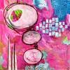 Joyful (FarStarr) Tags: mandyfariello pink wwwmandyfariellocom acrylicpaint acrylic collage mixedmedia 12x12 abstract explored