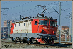 91-53-0-43-0127-7 (Zoly060-DA) Tags: romania arad bo electric locomotive 3400 kw cfr calatori rade koncar built red white grey blue brown catenary rail rails 43 0127 7 paint flats pantograph passenger service engine mashine